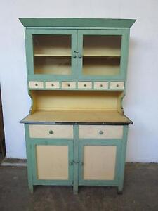 C49051 Vintage Antique Green Chippy Kitchen Dresser Cabinet Mount Barker Mount Barker Area Preview