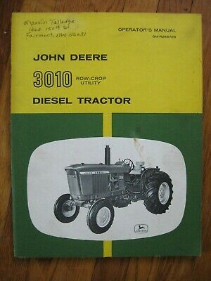 John Deere 3010 Diesel Row Crop Utility Tractor Operators Manual Original