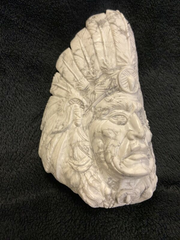 Detailed Howlite Native American Chief with Headdress Stone Carving