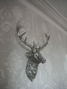 Large Silver Stags Head Deer Head Wall Mounted Stunning