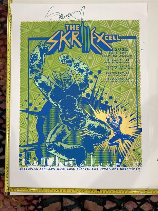 Skrillex Cell rare autographed COA event poster Fillmore Miami Beach