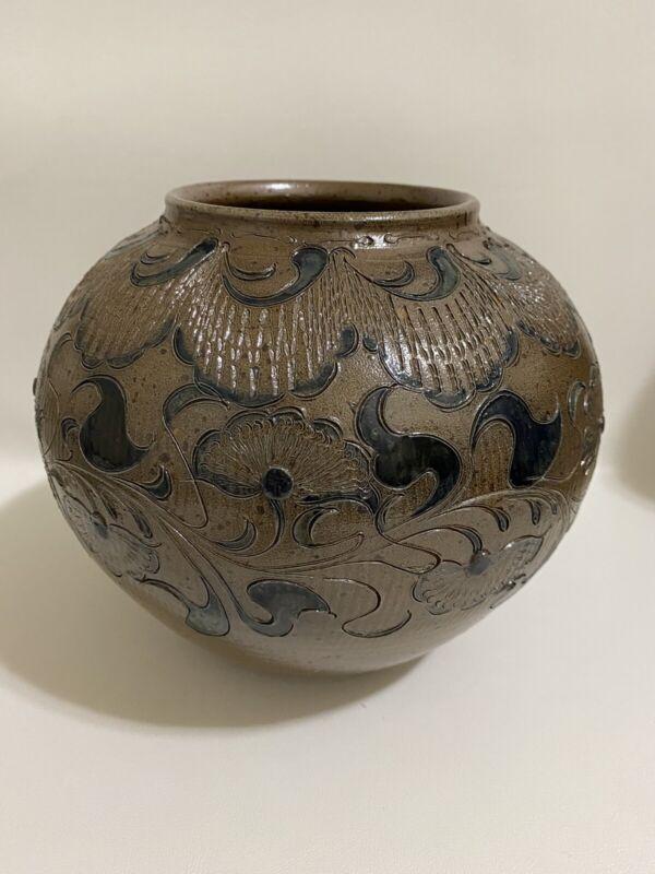 Albert Greiner Beinheim Bulbous Round Vase Roll Sandstone Glazed Incised Ceramic