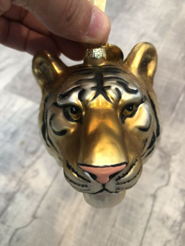 Blown Glass Tiger Head Christmas Ornament