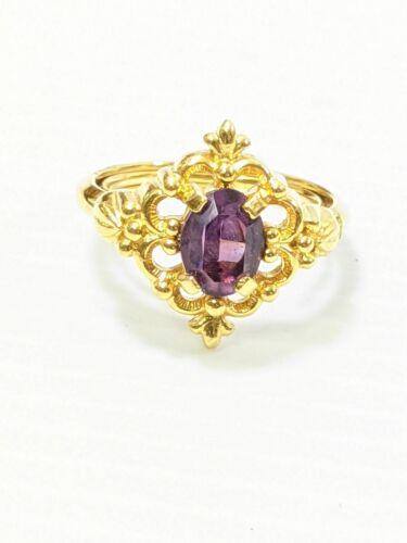 Vintage Avon Gold Tone Purple oval Cut Out Diamond Shape Ring Size 7
