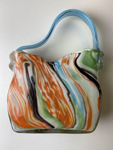 Glasvase Handtasche Glas Vase Glastasche Tasche Handtaschenform Blumenvase Bunt