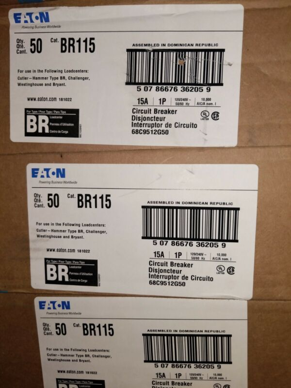 Eaton 15 amp Breakers new in boxes 50 Breakers