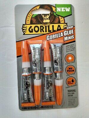 Gorilla Clear Glue Minis Strong 4 Pcs Tubes Strength Wood Glass Fix Diy 0.11 Oz