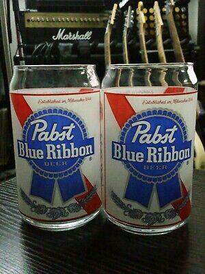 Pabst Blue Ribbon PBR Beer Glasses Beer Can Label Art Work, Set of 2