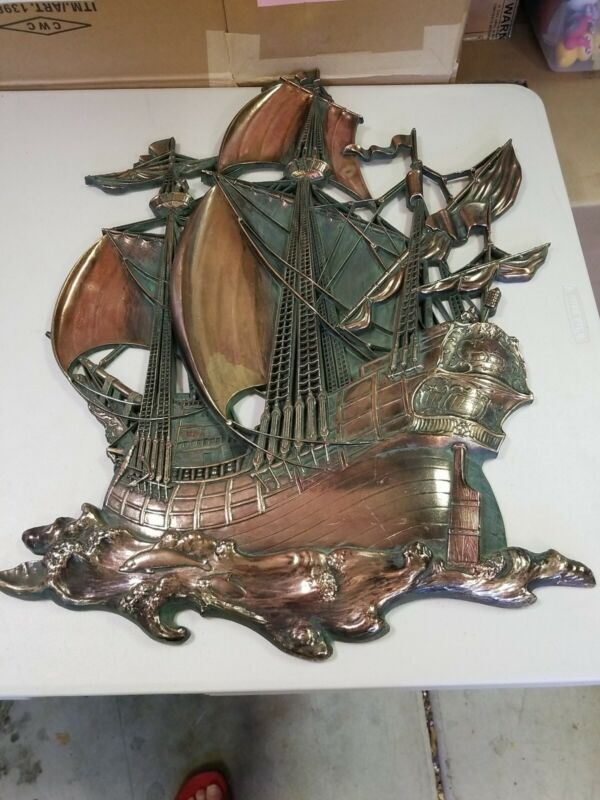 Syroco 29x20 Gold Pirate Ship Large Wall 3D Art Hanging Syracuse Ornamental