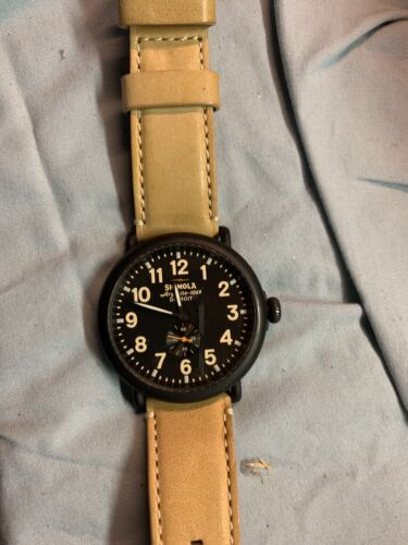 Shinola Runwell Watch With 47mm Black Face & Tan Leather Band.