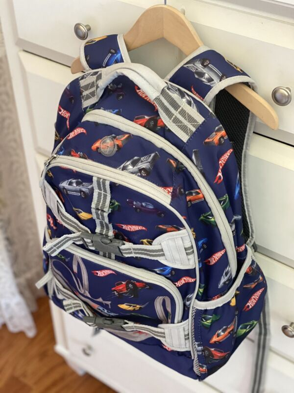EEEUC Full Size Hot Wheels Pottery Barn Large Boys Backpack! Cars No Embroidery