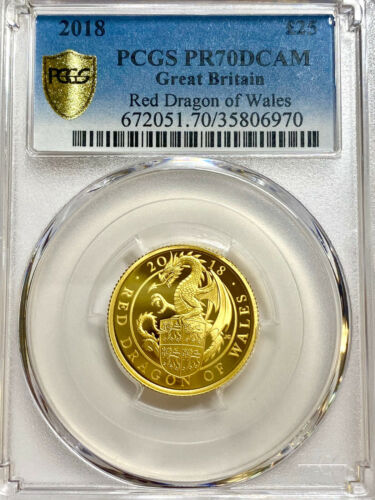 2018 UK Queen's Beast Red Dragon of Wales £25 1/4oz Gold Proof Coin PCGS PR70 DC