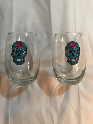 HALLOWEEN WINE GLASSES Day of the Dead TEAL SKULLS  Stemless Set of 2  - Day Of The Dead Wine Glasses