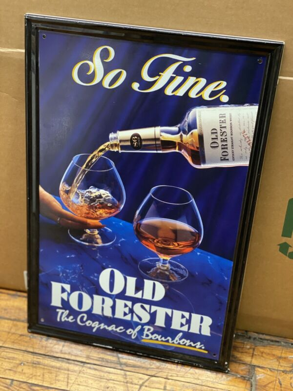 Vintage 1988 Old Forester Bourbon Whiskey Promotional Tin Metal Sign 23x15