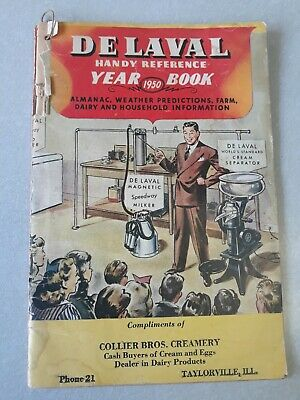 Vintage DeLaval 1950 Handy Reference year book collier creamery taylorville,ill.
