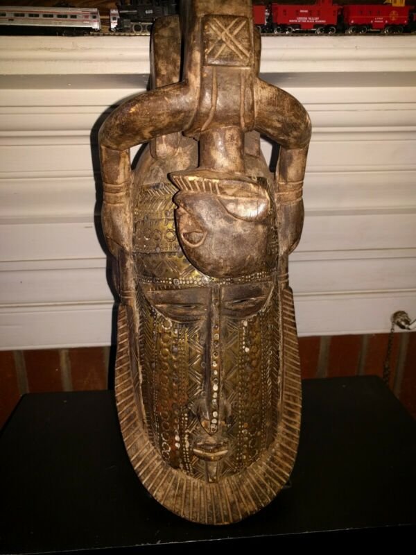 "Vintage Wood Metal Clad African 17"" Dogon Mali Face Mask        d204"