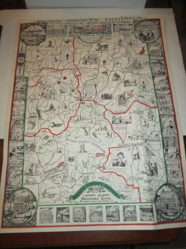 1954 BROWN COUNTY, INDIANA SCENIC MAP - A.J. ROGERS - HILLS SOUTHERN IND.  DOCS