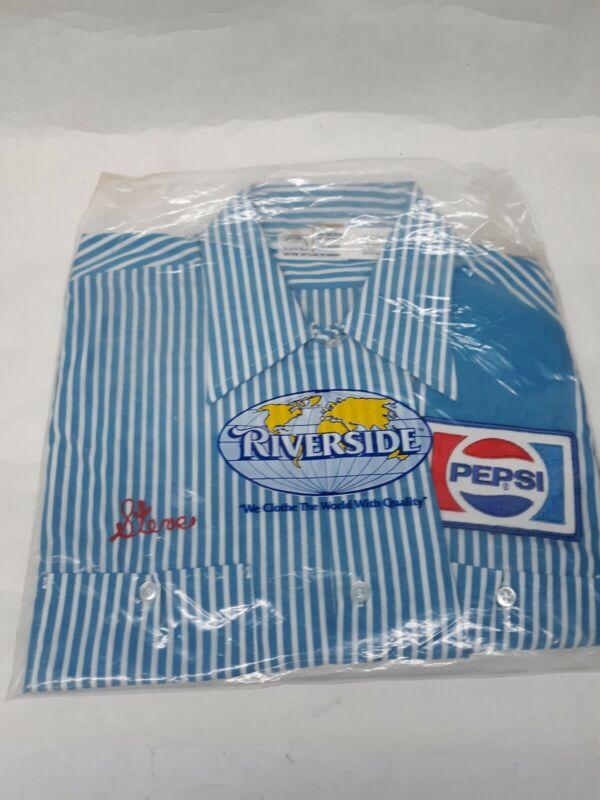 Vintage Pepsi Employee Delivery Driver Stripe Work Shirt Med., half Sleeve NOS