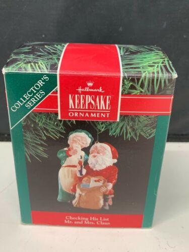1991 Hallmark Checking His List Santa & Mrs. Claus Keepsake Christmas Ornament