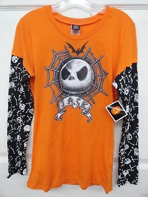 New Tags Adult Junior Disney Halloween Jack Skellington Nightmare Shirt Sz Med