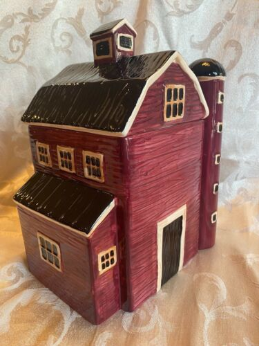 """Red Barn with Silo Cookie Jar / Canister 11"""" Tall Country Farm Decor"""