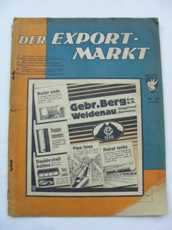 Vintage Der Export-Markt German Publication Magazine 1935 Advertisements