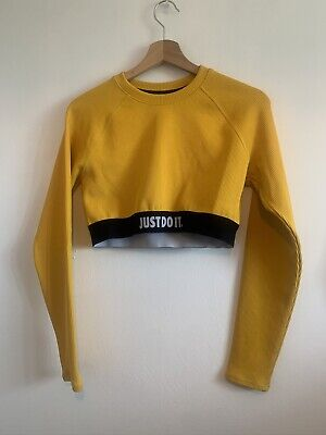 Nike Just Do It Uk M Long Sleeve Crop Top Bright Yellow Black Sporty