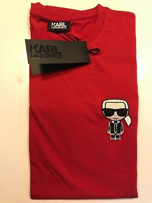 Karl Lagerfeld Mens Red Roundneck Logo T Size L RRP £75
