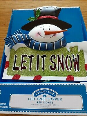 HOLIDAY TIME LED SNOWMAN TREE TOPPER, CUTE, NIB