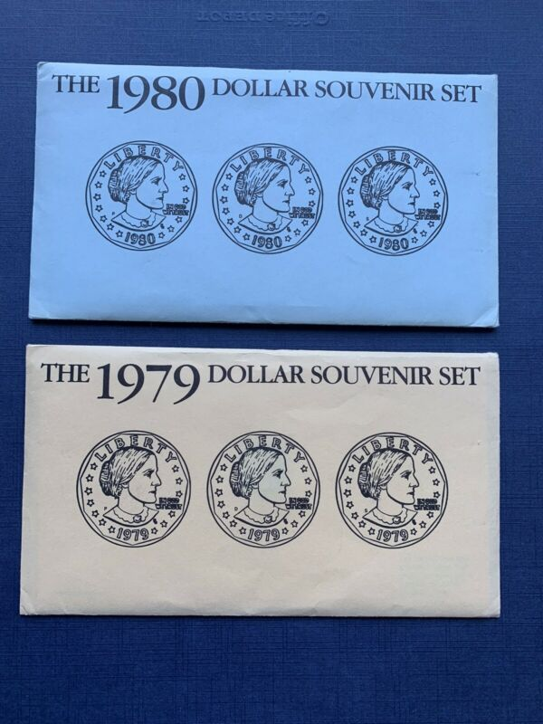 1979 1980 Susan B Anthony Silver Dollar Mint Sets PDS Uncirculated W COA