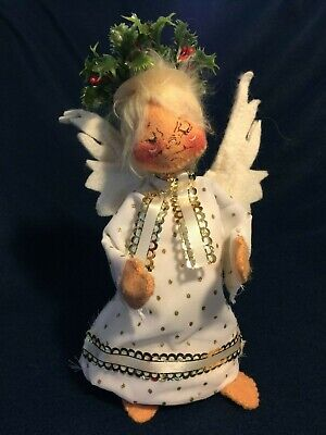 """Annalee tree topper Christmas Angel 8"""" white with gold trim & holly crown"""