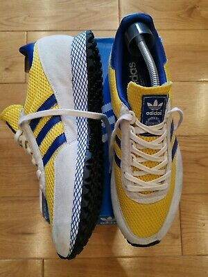 Vintage New York Marathon Adidas Trainers Size 12 ULTRA RARE YELLOW.