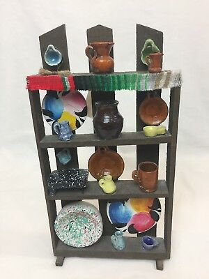 *NEW* Walt Disney 18-piece Mini Mexican Pottery Display with Wooden Shelves