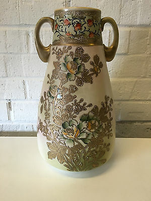 Vintage Antique Japanese Likely Nippon Double Handled Vase w/ Flowers Decoration