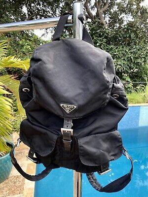 Authentic Prada Nylon Leather Vintage Backpack Bag Rucksack