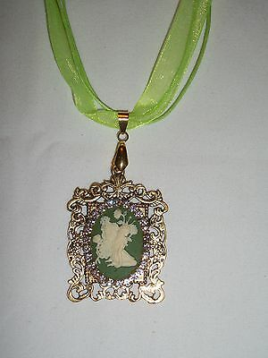 JEWELRY CAMEO VICTORIAN FAIRY PENDANT NECKLACE WITH CHAIN  AB RHINESTONES OOAK