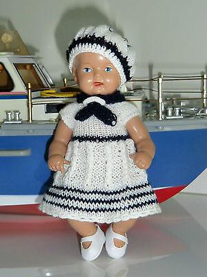 3-tlg Set Outfit Matrosen Kleid   Mütze  SK Strampelchen  Baby  Puppen 15-17 cm ()