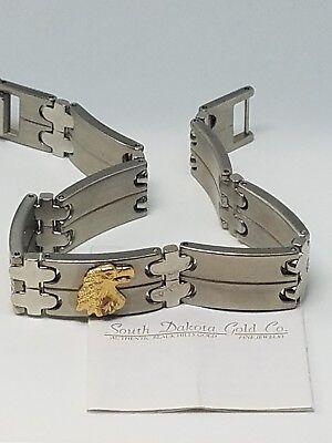Black Hills Mens Bracelets - Black Hills Gold Eagle Stainless Steel Link Bracelet