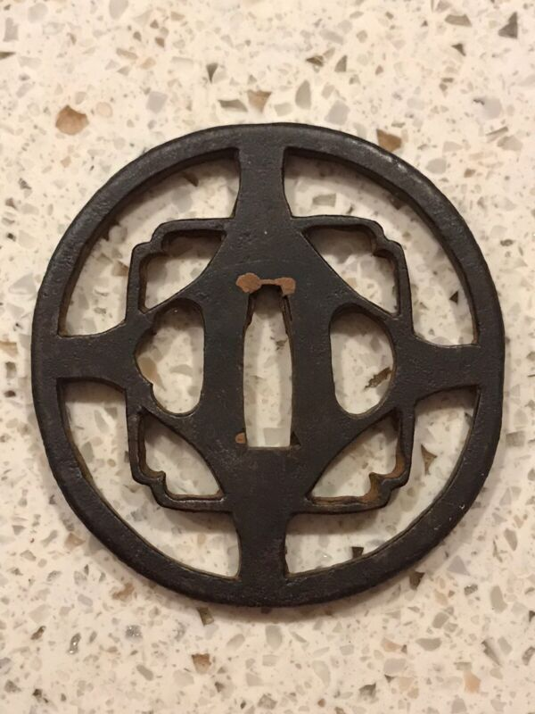 IRON SUKASHI TSUBA Antique Japanese Sword Guard OWARI?