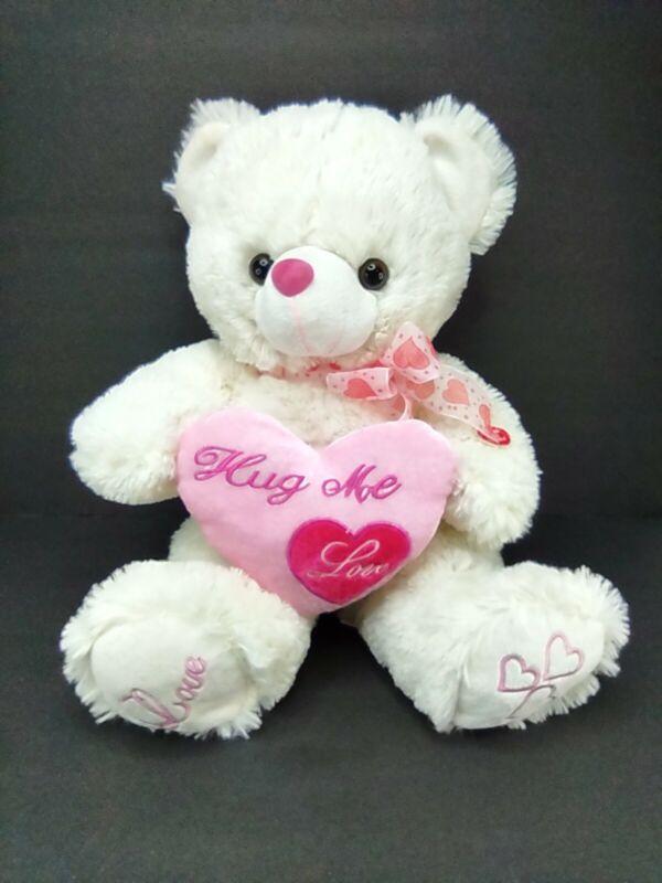 "Musical Teddy Bear White Valentines Pink Heart Plush Stuffed Animal Hug Me18"""