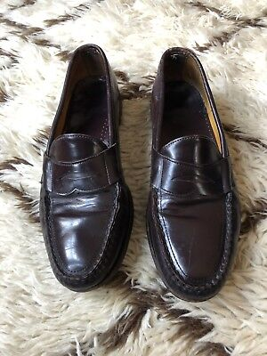 Sebago Mens 13 D Dark Brown Leather Penny Loafers Handsewn in USA