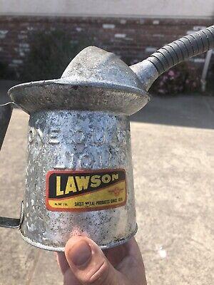 NICE Vintage LAWSON 1 Quart Oil Can Filler Great Label Display