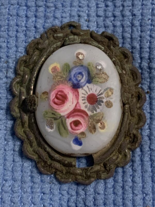 Antique Hand Painted Lady's Brooch Pin - Civil War Artifact - Rare & Unique