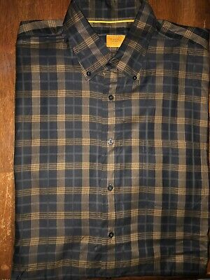 Men's Robert Talbott Carmel Long Sleeve Plaid Button Front Shirt Size XL