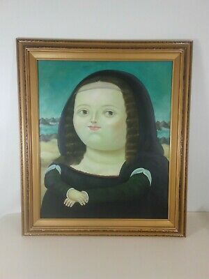 Framed Fernando Botero Fat Girl Mona Lisa 25