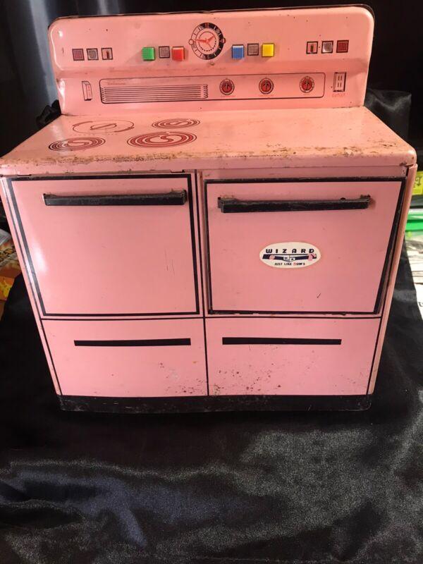 Vintage 1950s Play Stove Oven Range, Refrigerator Kitchen Tin Wolverine