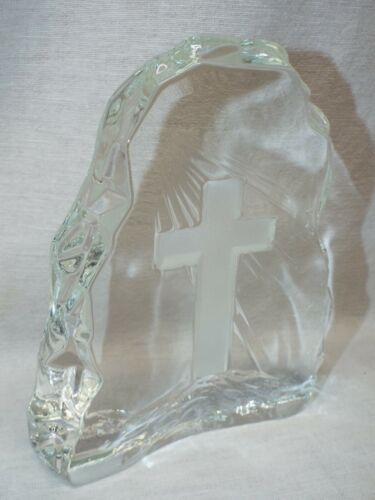 Heavy Etched Glass Cross Paperweight Figure Statue Christian / Religious / Faith