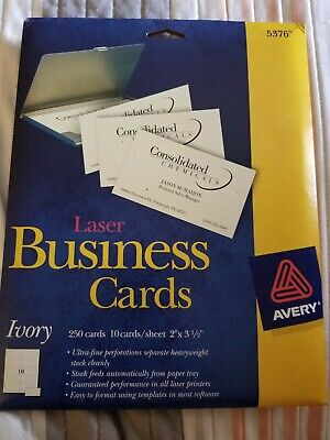 Avery Laser Business Cards Heavyweight 2 X 3.5 Ivory 250 Labels Per Pack