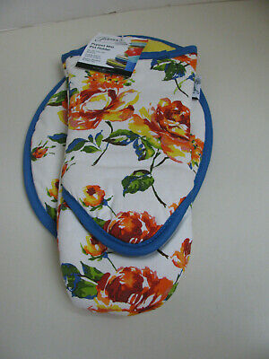 Fiesta Puppet Style Oven Mitt and Pot Holder - Blue / Floral - NWT
