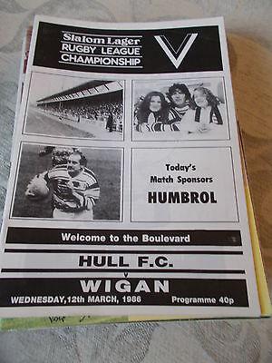 Hull v Wigan programme 12.3.86